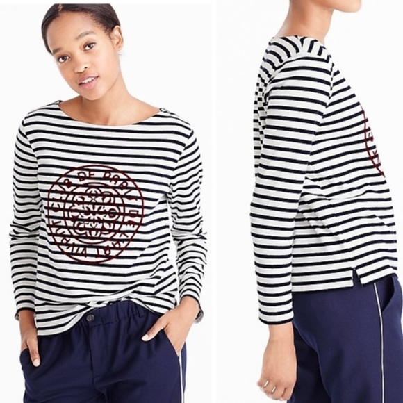 9afc6ffcde29e1 J. Crew Tops   J Crew Striped Boatneck Tshirt With French Logo ...